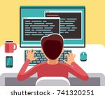 young man programmer working on ... | Shutterstock .eps vector #741320251