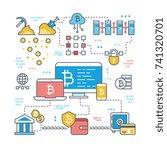 blockchain and internet... | Shutterstock .eps vector #741320701