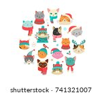 collection of christmas cats ... | Shutterstock .eps vector #741321007
