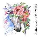 unicorn. watercolor flower... | Shutterstock . vector #741321169