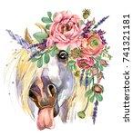Unicorn. Watercolor Flower...