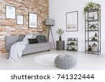white and gray living room with ... | Shutterstock . vector #741322444