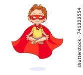 beautiful boy in a super hero...   Shutterstock .eps vector #741323554
