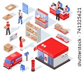 post service isometric set with ... | Shutterstock .eps vector #741325621