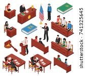 law and order isometric set of ... | Shutterstock .eps vector #741325645