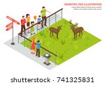 isometric zoo composition with... | Shutterstock .eps vector #741325831