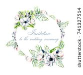 floral frame  banner with... | Shutterstock . vector #741327514