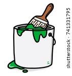 green color bucket   cartoon... | Shutterstock .eps vector #741331795