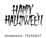 happy halloween vector ink...   Shutterstock .eps vector #741332617