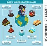 global warming climate change... | Shutterstock .eps vector #741333544