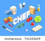 professional cooking people... | Shutterstock .eps vector #741333649