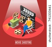 isometric movie shooting... | Shutterstock .eps vector #741333661