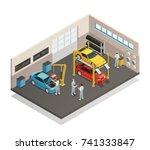 car repair maintenance... | Shutterstock .eps vector #741333847