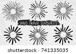 sun burst. collection of trendy ... | Shutterstock .eps vector #741335035