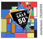 autumn sale memphis style web...   Shutterstock .eps vector #741339559