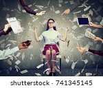 young business woman is... | Shutterstock . vector #741345145