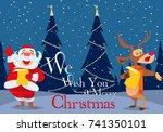 christmas celebration family ... | Shutterstock .eps vector #741350101
