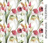 seamless wallpaper with tulips... | Shutterstock . vector #741354961