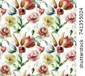 seamless wallpaper with... | Shutterstock . vector #741355024
