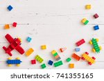 top view on multi color toy... | Shutterstock . vector #741355165