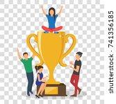 cup trophy successful winner... | Shutterstock .eps vector #741356185