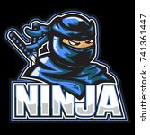 masked ninja with two swords on ... | Shutterstock .eps vector #741361447