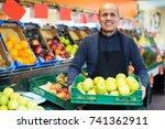happy mature salesman working... | Shutterstock . vector #741362911