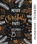 vector christmas party...   Shutterstock .eps vector #741366385