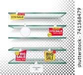 empty supermarket shelves ... | Shutterstock .eps vector #741368479