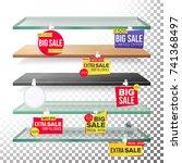 empty shelves  advertising... | Shutterstock .eps vector #741368497