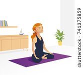 young woman sitting in yoga... | Shutterstock .eps vector #741375859