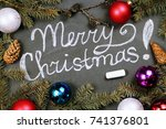 christmas background with an... | Shutterstock . vector #741376801