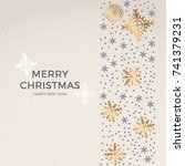 christmas retro greeting card... | Shutterstock .eps vector #741379231