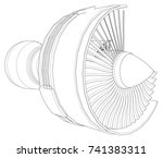 turbo jet engine aircraft.... | Shutterstock .eps vector #741383311