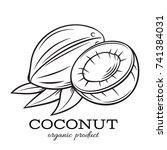 hand drawn coconut icon. vector ... | Shutterstock .eps vector #741384031