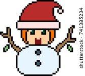 vector pixel art santa kid...
