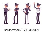 young policeman unhappy with... | Shutterstock .eps vector #741387871