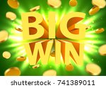 big win sign with gold... | Shutterstock .eps vector #741389011