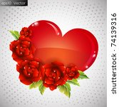 vector heart with roses