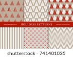 set of winter holiday seamless... | Shutterstock .eps vector #741401035