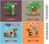 vector set of tourist posters ... | Shutterstock .eps vector #741403387