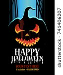 halloween poster design with... | Shutterstock .eps vector #741406207