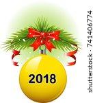 vector yellow christmas ball... | Shutterstock .eps vector #741406774