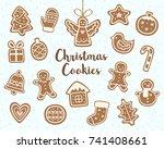 vector set of christmas cookies ... | Shutterstock .eps vector #741408661