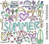 summer beach hand drawn vector... | Shutterstock .eps vector #741410161