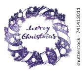 christmas wreath hand drawn... | Shutterstock .eps vector #741413011