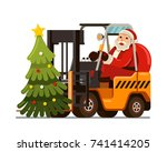 merry christmas santa claus... | Shutterstock .eps vector #741414205