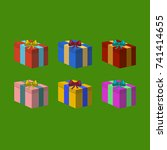 colorfull christmas presents on ...   Shutterstock . vector #741414655