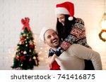romantic young couple enjoying...   Shutterstock . vector #741416875