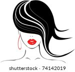 beautiful girl with red lips... | Shutterstock .eps vector #74142019